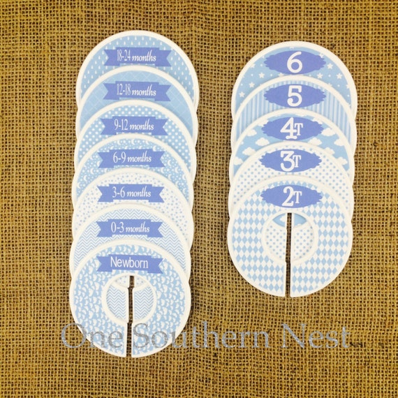 12 Closet Dividers, perfect gift for Baby Shower, Birthday, or Christmas. Infant, Baby, Toddler & Child size dividers. Baby blue and white.