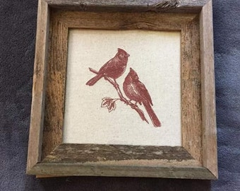 Cardinals...Rustic wooden framed embroidery