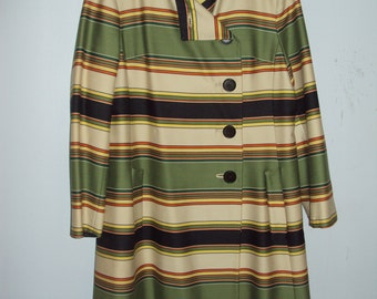 1960s Vintage Marshall Field and Company Striped Coat