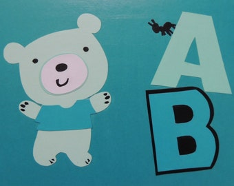 """Alphabet Collage, A is for Ant & B is for Bear - 9"""" x 12"""" Wall Hanging"""