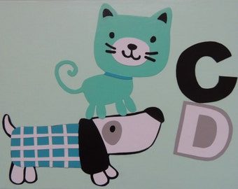 """Alphabet Collage, C is for Cat & D is for Dog - 9"""" x 12"""" Wall Hanging"""