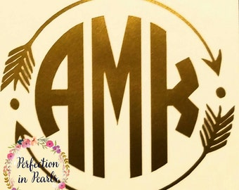 Monogram Decal// Tribal Arrow// Personalized Decal// Monogrammed Decal// Framed Monogram
