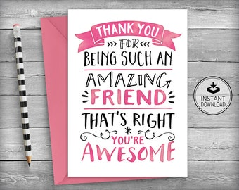 Thank You Cards | Friendship Cards | Thank You Friend | Friend Cards | Printable Cards | Instant Download | Greeting Cards - Amazing Friend