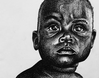 Realism biro pen drawing  of young african child, art print