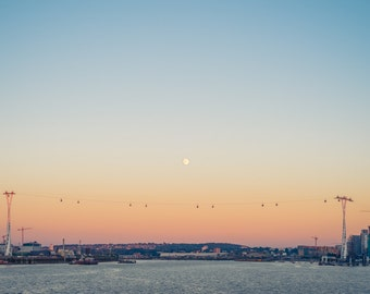 Emirates Air-line Landmark across the Thames in Greenwich London colour sunset moon photo print - FREE SHIPPING - Cityscape - Fine Art Print