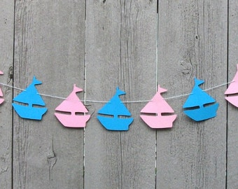Nautical Sailboat garland, Baby gender reveal decorations, Gender reveal banner, Baby Sprinkle, Pink and Blue, Sailboat, Ocean theme