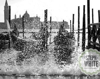 Venetian Gondolas - Black and White