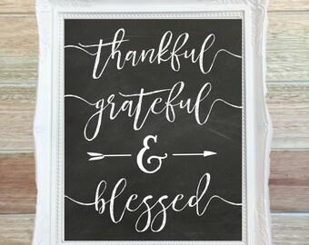 Thankful Art Print, Chalkboard Print, Thankful Grateful Blessed, Digital Art Print, Rustic Decor, Typography Art, Chalkboard Art