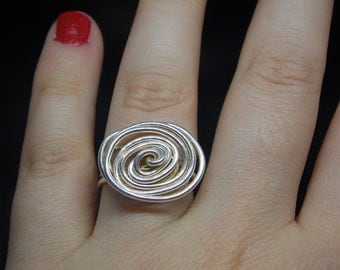 Ring silver plated cooper wire wrapped