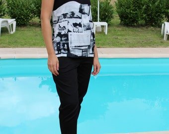 Tank top black and printed the small size 38 to the largest size 48