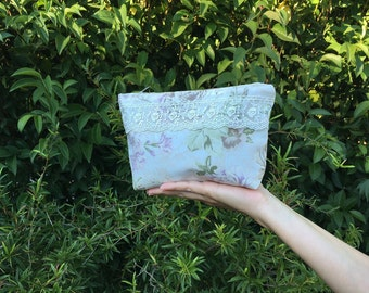 Handmade Make up bag with Lace