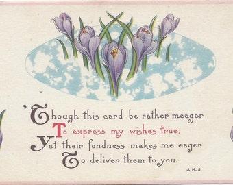 Old Vintage Easter Postcard, Flowers, Spring, Poem, Poetry