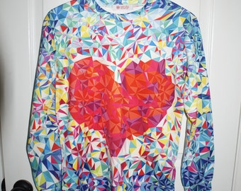 Colorful heart mosaic sweater