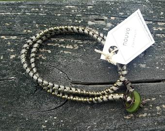 Double Wrap Leather Bracelet - Gray//Bronze
