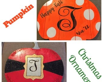 Monogrammed Pumpkin & Ornament