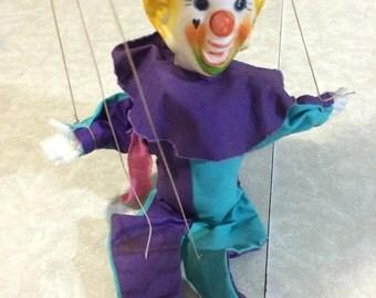 Handmade marionette clown