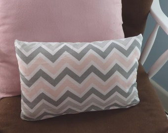 Pink and Gray Chevron Pillow