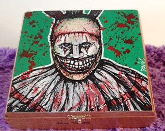 Custom Hand Painted Cigar Box Art –Twisty the Clown–American Horror Story–John Carroll Lynch-Cigar Box-Smoking Decor–Cigar Box Art-Stash Box