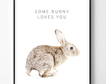 Rabbit Print, Rabbit printable Wall Art, Nursery print, Woodland, Animal print, Animal Decor, Nursery Animal Print, Scandinavian printable
