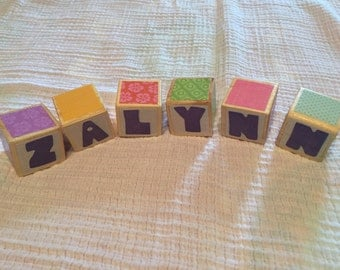 Custom Baby Name Blocks