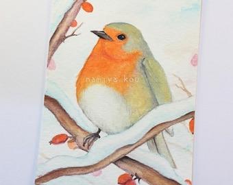 Original ACEO Card, European Robin, Bird Artwork, Watercolor Painting, Erithacus rubecula, Nature Art, Wildlife ATC, Hand Drawn ACEO