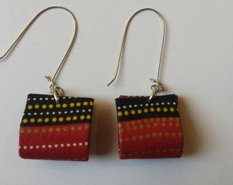 Black and Red Square Earrings