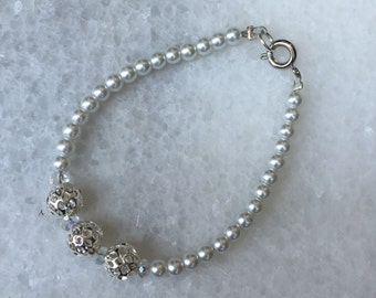 Beaded Glass Pearl Bracelet