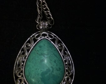 Antique Silver Turquoise Teardrop Pendant with chain