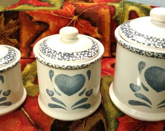 Country Blue Sponge Heart Canister Set