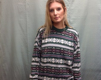 90s vintage Green patterned pullover sweater