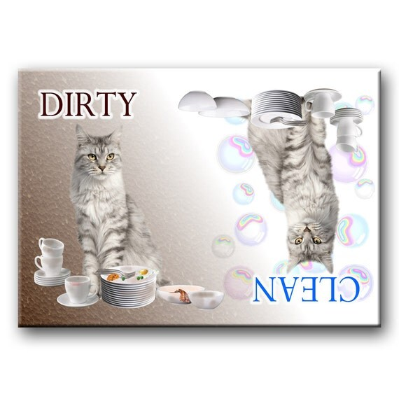 Maine Coon Cat Clean Dirty Dishwasher Magnet No 1