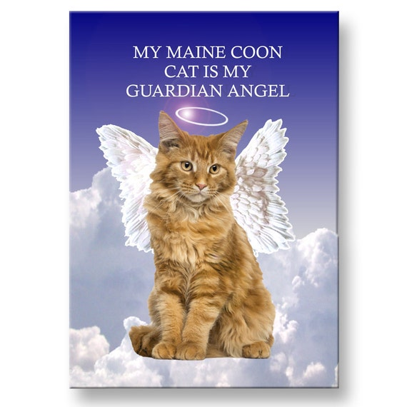 Maine Coon Cat Guardian Angel Fridge Magnet No 2