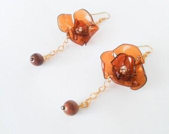 Gift jewelry, earrings boho, drop earrings, gold earrings, flower jewelry