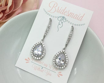 Bridesmaid Pear Dangle Earrings, Dangle CZ Earrings, Bridesmaid Jewelry Gift, Bridesmaids Stud Earrings, Personalized Jewelry 483691199