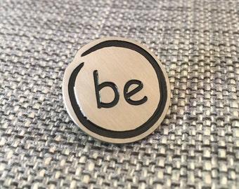 BE Silver Initials Lapel Pin