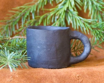 Liquor mug with handle from the pit fire / handmade / piece