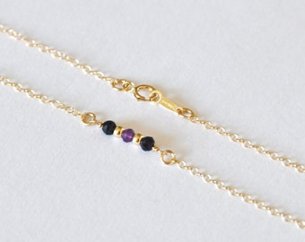Family birthstone bar necklace ~ Style 2