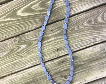 Square grey/black stone and metal beads
