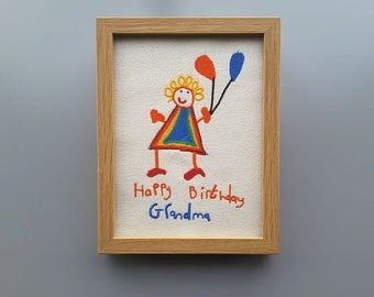 Small Framed Embroidered Canvas with Kids Artwork