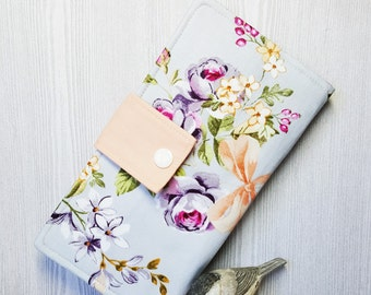 Lavender pink floral Women's wallet, Handmade fabric wallet, credit card wallet, bifold wallet, checkbook wallet, clutch wallet, gift idea