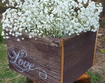 Wooden Barnboard Crate 12 x 12 x 8 Reclaimed Box Planter