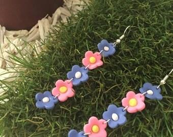 pink violet flowers earrings