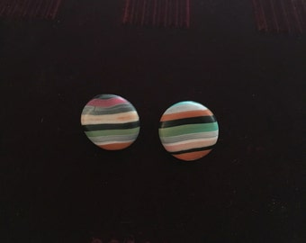 Colorful stripes earrings , polymer clay, handmade