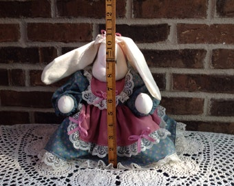 Vintage 1990's Cute Stuffed Bunny Rabbit in a Victorian Style Dress