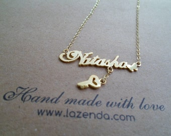 Name Necklace with Key Drape