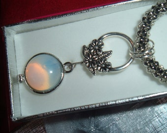 OPALITE & Tibetan SILVER  PENDANT on antiqued silver rope, toggle clasp