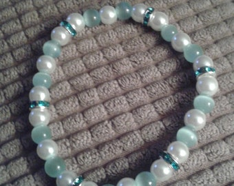 Blue Tiger's Eye and White Glass Bead Bracelet