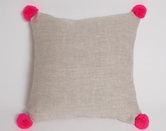 Neon Pom Pom Cushion
