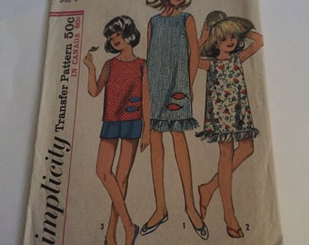 Vintage Simplivity pattern 6035 girls dress or top, shorts and scarf