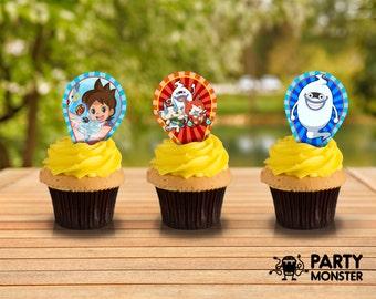 Yo-Kai cupcake toppers, Yo-Kai Party supplies, DIY, Yo-Kai Decoration, Yo-Kai birthday party, 13 Yo-Kai Cupcake toppers